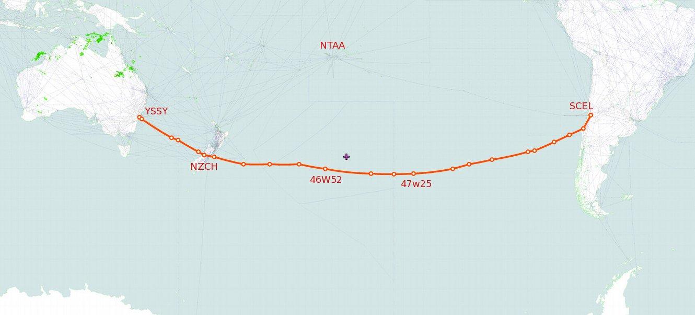 QFA27 Filed Route